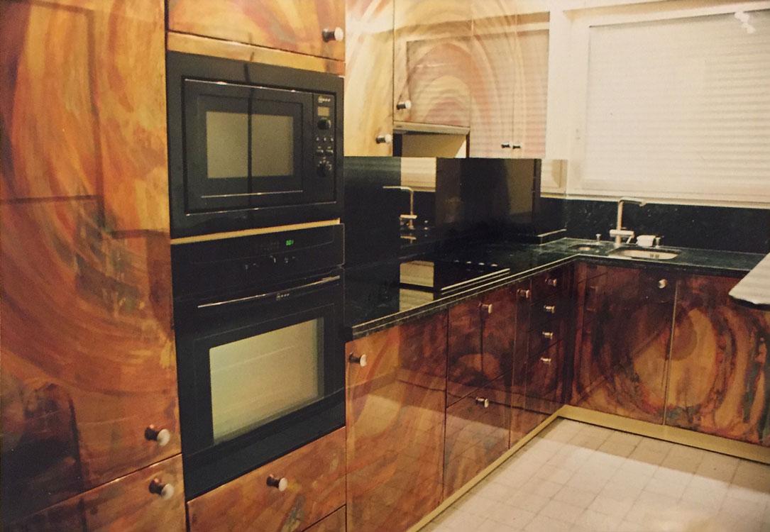 2002 – cuisine en cuivre oxydé et patiné. paris. france | grataloup